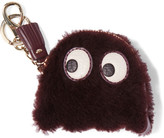 Anya Hindmarch Ghost Leather-trimmed Shearling Keychain - Merlot