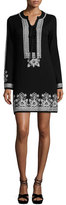 Nanette Lepore Long-Sleeve Embroidered Shift Dress, Black/Blue