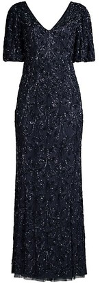 Aidan Mattox Beaded V-Neck Sheath Gown