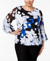 Alfani Plus Size Ruffle-Sleeve Blouson Top, Only at Macy's