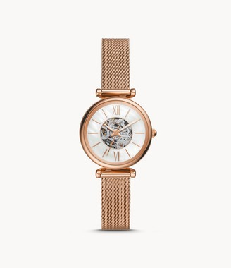 Fossil Carlie Mini Automatic Rose Gold-Tone Stainless Steel Mesh Watch