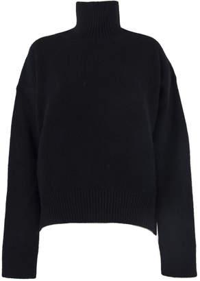 Laneus Black Wool Turtle Neck Sweater