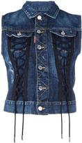 DSQUARED2 sleeveless laced denim jacket