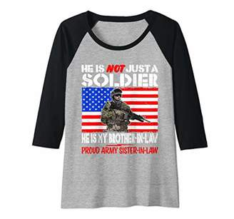 Womens My Brother-In-Law Is A Soldier Proud Army Sister-In-Law Gift Raglan Baseball Tee