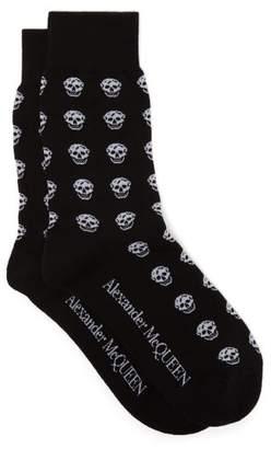 Alexander McQueen Skull Jacquard Cotton Blend Socks - Mens - Black Multi