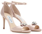 Jimmy Choo Tori 85 Satin Sandals With Clip-on Crystals