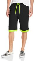 Southpole Men's Jogger Shorts in French Terry with Solid Body and Accent Color Cuffs