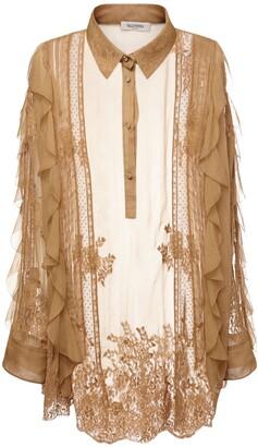 Valentino Silk Chiffon Long Shirt W/ Lace Effect
