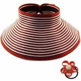 kilofly Roll Up Wide Brim Sun Visor Hat - for Women - , with Cute Flower Elastic Hair Band