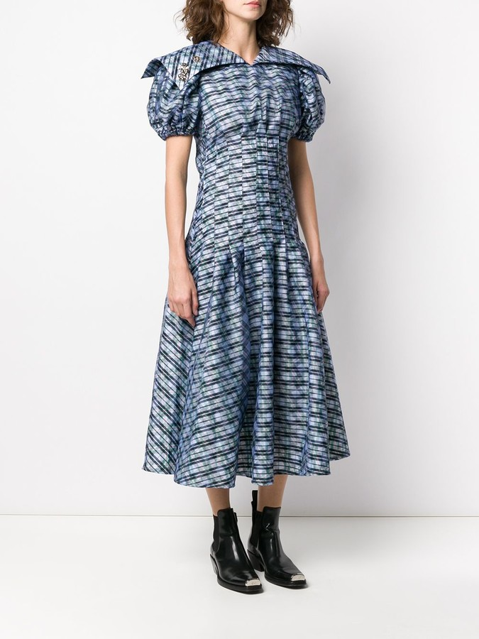 Thumbnail for your product : Chopova Lowena Plaid Puff-Sleeves Midi Dress