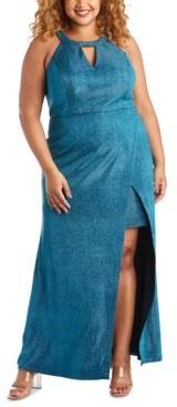 Morgan & Company Trendy Plus Size Faux-Wrap Glitter Dress