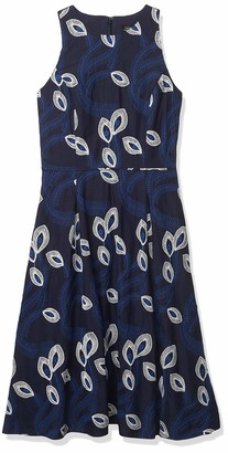 Tahari ASL Women's Sleeveless Crew Neck Fit and Flare Embroidered Dress