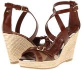 Burberry Check Patent Crisscross Strap Espadrille Wedges (House Check/Dark Tan) - Footwear