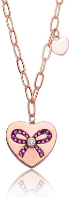 Collete Z Collette Z Sterling Silver with Rose Gold Plated Heart Paper Clip Chains Necklace