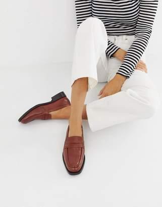 Asos Design DESIGN Madora leather loafers-Brown