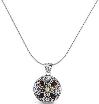 Devata DEVATA Women's Necklaces Silver - Garnet & Sterling Silver Classic Snake Chain Pendant Necklace