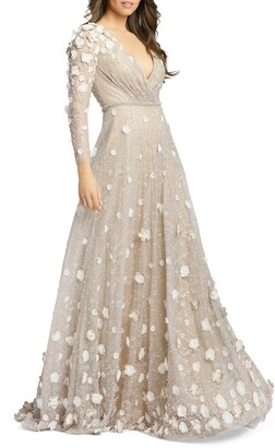 Mac Duggal Floral Applique Long Sleeve Lace Gown
