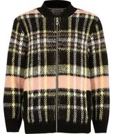River Island Girls pink checked knit bomber jacket