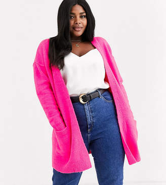 Simply Be oversized cardigan in neon pink