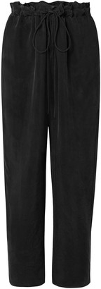 Sally LaPointe Cropped Cupro Straight-leg Pants