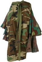 Erika Cavallini - camouflage asymmetric skirt - women - Cotton - One Size