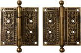 Rejuvenation Pair of Large Bronze Door Hinges