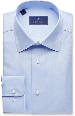 David Donahue Regular Fit Royal Oxford Dress Shirt (White) Men's Clothing