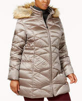 Jones New York Plus Size Faux-Fur-Tim Down Puffer Coat