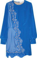 Joan silk crepe-de-chine and lace dress