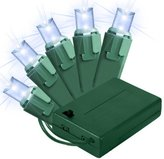 (20) Bulbs - LED - Pure White Wide Angle Mini Christmas Lights - Length 11 ft. - Bulb Spacing 6 in. - Green Wire - Battery Powered with Timer - Indoor/Outdoor