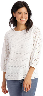 Regatta 3/4 Puff Sleeve Broderie Top