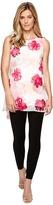 Calvin Klein Sleeveless Print Chiffon Overlay Blouse Women's Sleeveless