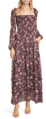 Dolan Stratton Floral Square Neck Long Sleeve Maxi Dress