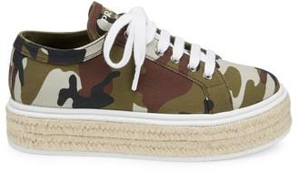 Prada Camo Canvas Espadrille Platform Sneakers