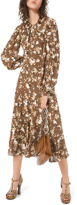Michael Kors Collection Floral-Embroidered Blouson Sleeve Midi Dress