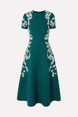 Oscar de la Renta Embroidered Wool-blend Crepe Midi Dress - Emerald