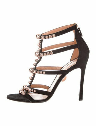 Samuele Failli Suede Studded Accents Gladiator Sandals Black