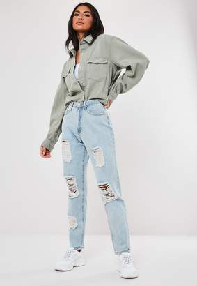 Missguided Blue Light Wash High Waisted Distressed Mom Jeans