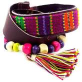 Purple Leather Bracelet with Maya Handwoven Cotton, 'Carnaval in Atitlan'