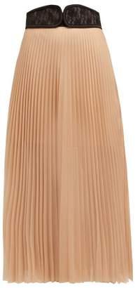 Christopher Kane C String Belt Pleated Chiffon Midi Skirt - Womens - Nude