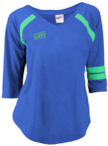 Soffe Electric Blue & Green Jersey Burnout V-Neck Tee