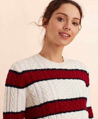 Brooks Brothers Striped Wool-Cotton Cable-Knit Sweater
