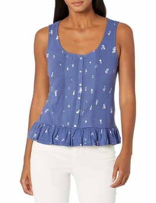 Lucky Brand Women's Sleeveless Scoop Neck Eyelet Peplum Tank Top