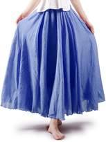 OCHENTA Women's Bohemian Style Elastic Waist Band Cotton Linen Long Maxi Skirt Dress Length
