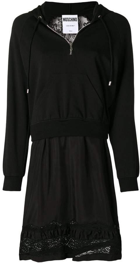 Moschino layered lace hoodie dress