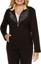 Alfred Dunner Tropical Leaf Casual Friday Fleece Jacket