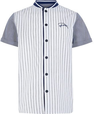 River Island Boys blue stripe 'River' baseball shirt