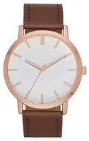 Merona Women's Strap Watch with Mother of Pearl Dial Brown/Rose Gold