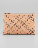 Bottega Veneta Extra Large Snake-Print Flat Cosmetic Bag, Camel