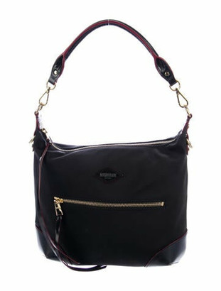 MZ Wallace Leather-Trimmed Nylon Hobo Black